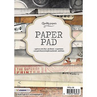 Studio Light Paper Pad A5 36 arkkia 12 mallit nr 108 PPSL108