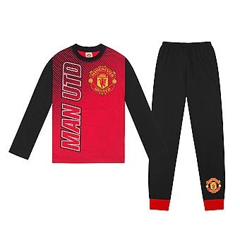 Manchester United FC Official Football Gift Boys Kids Long Piżamy
