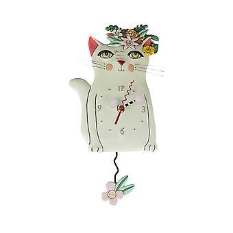 Allen designs pen kitty hvit floral katt pendel vegg klokke