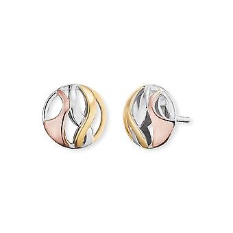 Angel Whisperer Paradise Sterling Silver Rhodium Rose Gold Plated 10mm Ear Studs ERE-PARADISE-TRI-ST