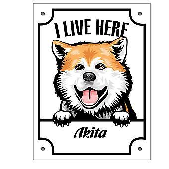 Tin plaat ik verblijf hier Akita Kikande hond teken