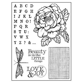 Natural Rubber Stamp Peony (WTKCC104)