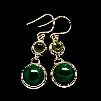 "Malachite, Peridot Earrings 1 1/2"" (925 Sterling Silver)  - Handmade Boho Vintage Jewelry EARR404826"