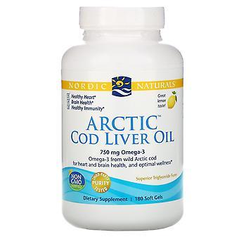 Nordic Naturals, Arctic Cod Liver Oil, Lemon, 1000 mg, 180 Soft Gels