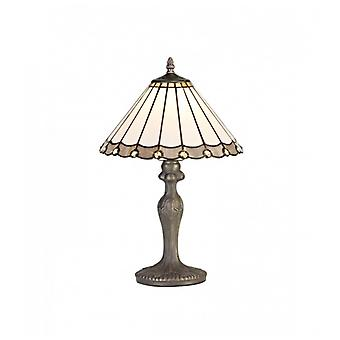 Calais 1 Light Curved Table Lamp E27 With 30cm Tiffany Shade, Grey/c/crystal/aged Antique Brass