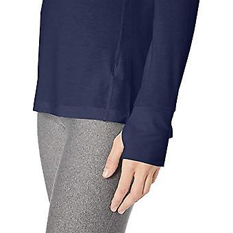 Essentials Kvinner's Studio Langermet Lett T-skjorte, -navy, Liten