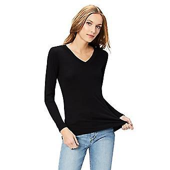Brand - Daily Ritual Women's Fluid Knit Langærmet V-Neck Shirt, Sort, X-Large