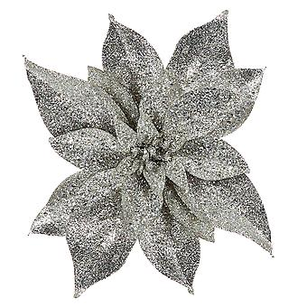 25cm Silver Glittered Angled Clip-On Poinsettia Christmas Decoration