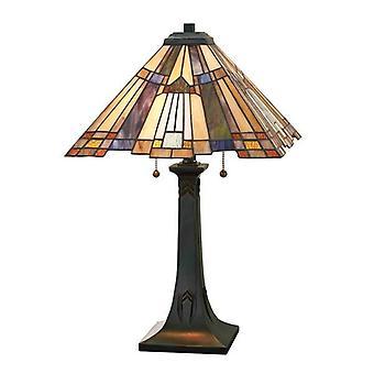 Elstead Inglenook - 2 Lichte Tiffany Tafellamp Brons, E27