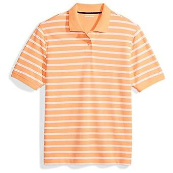 Essentials Menn's Regular-Fit Stripeed Cotton Pique Polo Skjorte, Coral Stripe, X-Large