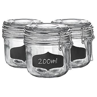 Glass Storage Jars with Airtight Clip Lid and Chalkboard Stickers - 200ml Set - White Seal - Pack of 6