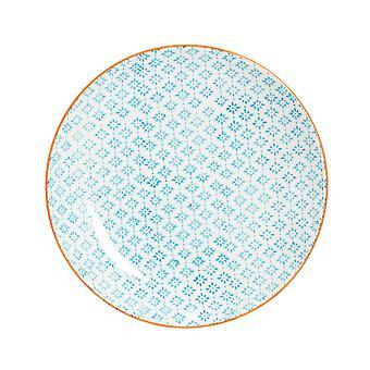 Nicola Spring Hand-Printed Dinner Plate - Japanese Style Porcelain Dining Dish - Orange - 25.5cm