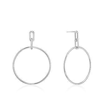 Ania Haie Chain Reaction Rhodium Cable Link Hoop Earrings E021-07H