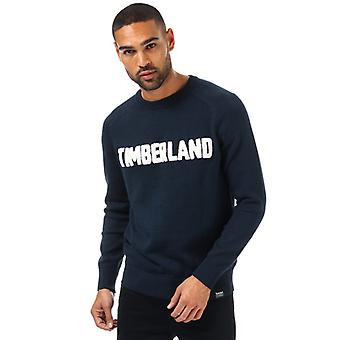 Män & apos;s Timberland Logo Crew Neck Jumper i blått
