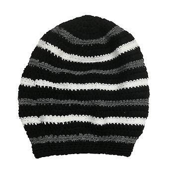 Rotero Handmade Black Striped Hat Unisex