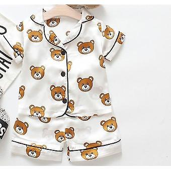 Vauva pyjama karhu kesä taapero tyttö vaatteet sleepwear set silkki verryttelypuku