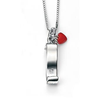 D for Diamond Childrens 925 Sterling Silver Rhodium Plated Scroll & Enamel Heart Diamond Pendant on a 35cm Chain