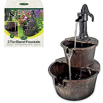 GardenKraft 2 Tier Barrel Fountain (with UK 2.55m Cable)