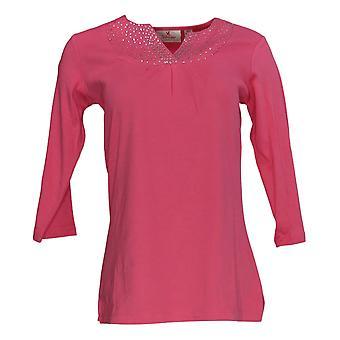 Quacker Factory Women's Top Sparkle Ruched Split V-Neck Pink A272881