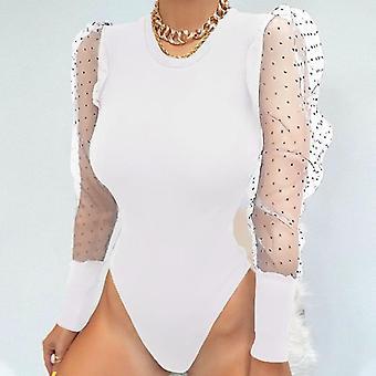 New Lace Puff Sleeve Women's Bodysuit Autumn Polka Dot Elegant Vintage Bodycon