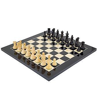 Black Flower Chess Set