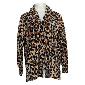Cuddl Duds Women's Sweater Fleecewear Stretch Button Front Beige A369667