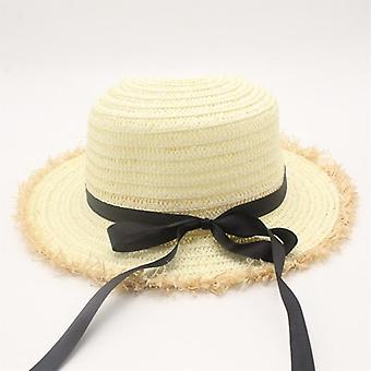 Flat High Sun Hat Summer Spring Women&s Travel Caps Bandages Beach Child Traw