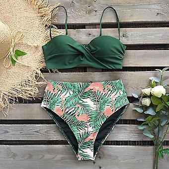 Sexy Leaf Print Bikini Female Swimsuit Swimwear Thong Push Up Set High Waist