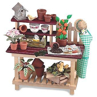 Casa de bonecas Banco de Vasos com flores Planta Potes Ferramentas e amp; Reutter de acessórios