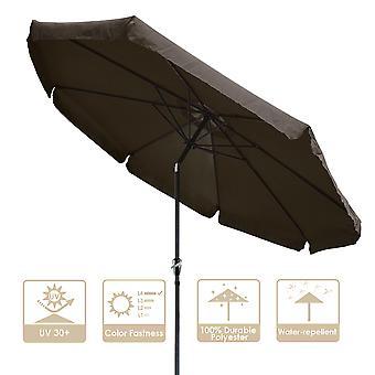 10Ft 8 Rib Outdoor Patio Umbrella Market Valance Crank Tilt Beach Garden