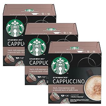 3 x 12 pods Starbucks Cappuccino Espresso Roast Ground Arabica Coffee Milk Drink