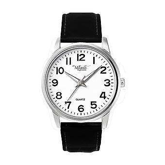 Montre bracelet-analogique en cuir noir pour hommes avec cadran blanc