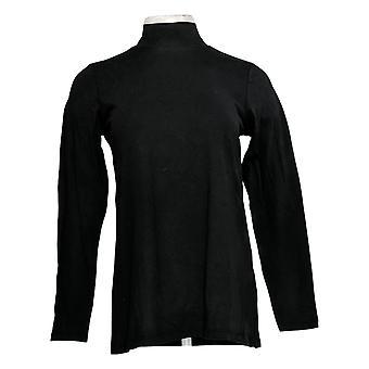 LOGO Par Lori Goldstein Women's Top XXS Cotton Modal Mock Neck Black A366479