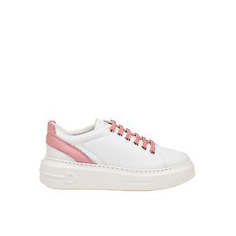 Salvatore Ferragamo 035617726196 Damen's Weiß/rosa Leder Sneakers