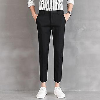 Ankle-length Linen Plaid Pant