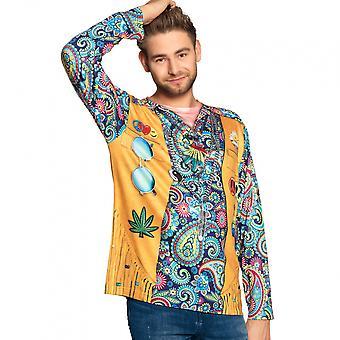 Shirt Hippie Hunk Men's Polyester Yellow / Blue Size L