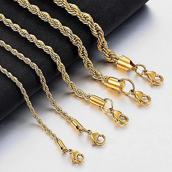 Gold Stainless Steel Rope Chain Fashion Jewelry Ladies Necklace