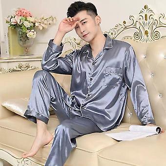Men Pajamas Set, Solid Satin Summer Long Sleeve Sleepwear Suit