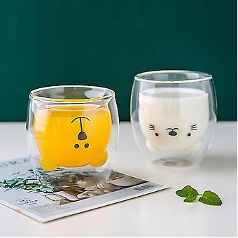Creative Cute Bear Coffee Mug Double Glass Carton Milk Juice Lady Valentine's