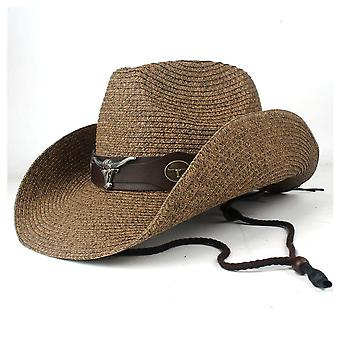 Summer Straw Men Women Western Cowboy Hat Wide Brim Outdoor Sombrero Hombre