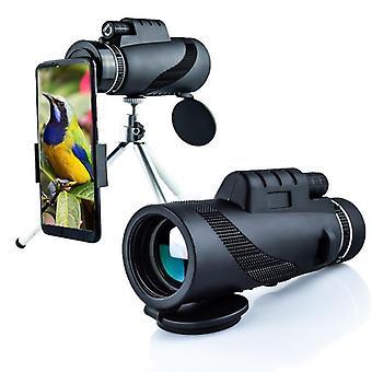 IPRee 40x60 monokulær HD optisk BAK4 2000T linseteleskop dag nattsyn 1500m / 9500m + stativ + telefon