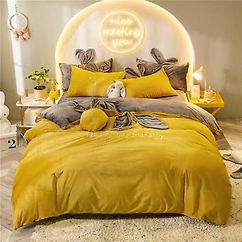 Winter Crystal Velvet Bedding Set, Duvet Cover Bed Sheet Pillowcase Kit