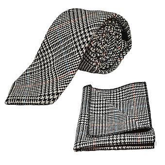 &Musta& Valkoinen dogtooth-solmio &; Pocket Square -setti