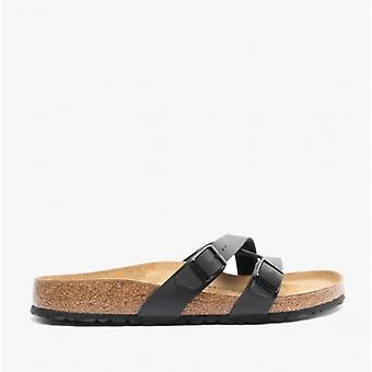 Birkenstock Yao Balance 1016686 (reg) Ladies Birko-flor Two Strap Sandals Black