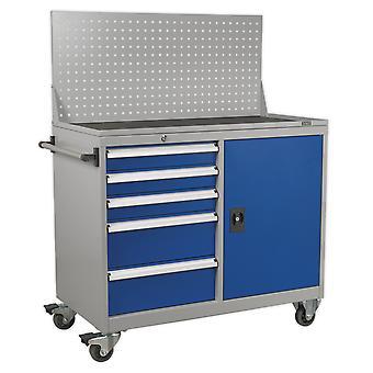 Sealey Api1103A industriel Mobile Workstation 5 tiroirs et 1 étagère casier