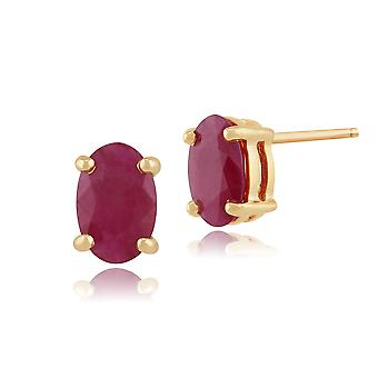 Classic Oval Ruby Stud Earrings in 9ct Yellow Gold 6x4mm 26891