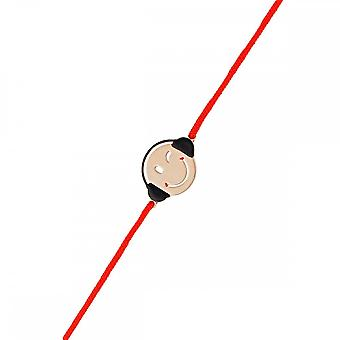 Smiley pink vermeil cord bracelet and red cord 'apos;Mélomane'apos;