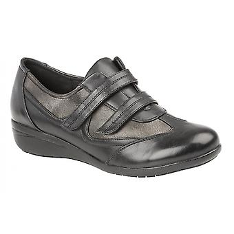 Boulevard L053a Ladies Touch Fasten Casual Trainers Black/pewter