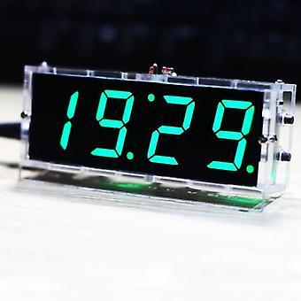 المدمجة 4 أرقام DIY الرقمية LED ساعة كيت ضوء التحكم في درجة الحرارة تاريخ عرض الوقت مع حالة شفافة