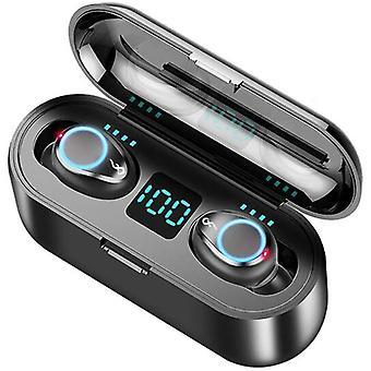 F9 TWS trådløst hodesett smart touch Bluetooth headset 5.0 trådløst in-ear headset med 2000mAh mobil strøm (svart)
